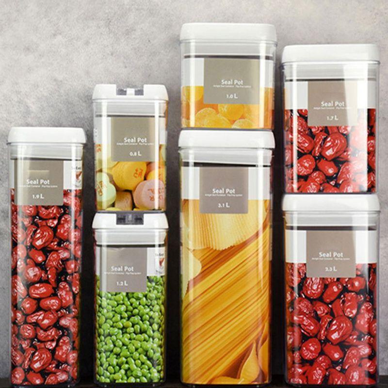 5pcs Set Plastic Sealed Kitchen Storage Box Grain Storage Tank Dried Grains Container With Lid