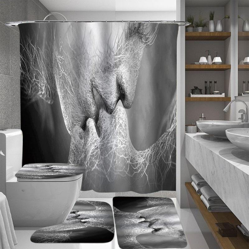 Black & White Love Kiss Abstract Art Curtains Waterproof Bathroom Shower Curtain Anti-slip Toilet Seat Mat Floor Mat Rug Set