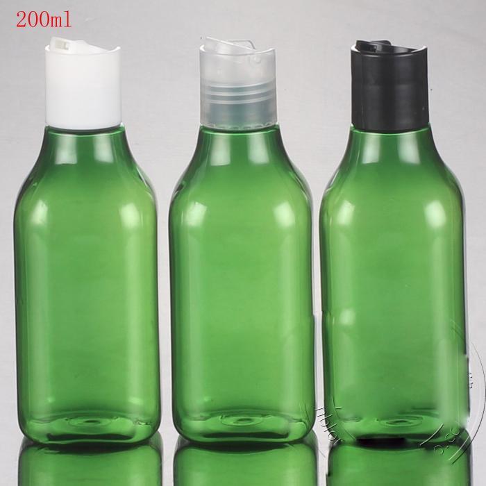 (50pcs / lot) 200ml de bouteilles vides ronds en plastique vert avec bouchon de presse (bouchon supérieur du disque), une bouteille pour l'emballage cosmétique de shampooing en lotion