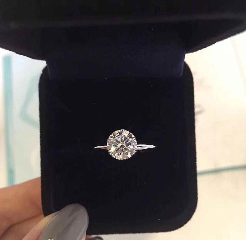 Timbre ont six griffes 1-3 carats cz diamant 925 anneaux en argent sterling Anelli pour les femmes se marient bagues de fiançailles de mariage ensembles Lovers bijoux cadeau