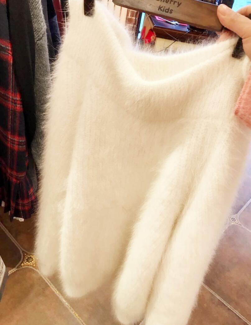 2020 الشتاء سميكة الدافئة المنك الكشمير سترة المرأة المتضخم المدورة بلوزات البلوزات والبلوفرات فضفاض الأبيض ضبابي معطف سترة
