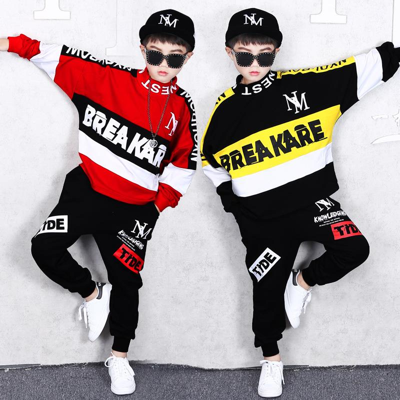 Children's Hip Hop Style Clothing Spring and Autumn Boy Casual Sweater Trousers Baby Loose Sports Jacket Pants Hooded Shirt 2 Sets