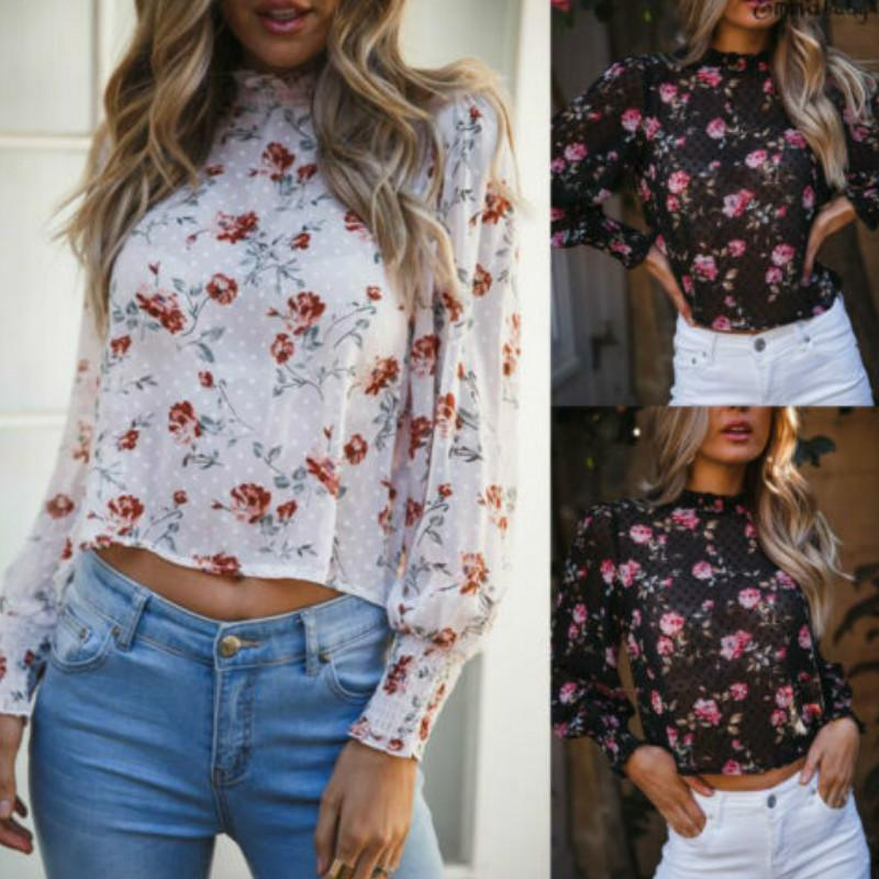 새로운 여성의 긴 소매 짧은 라운드 넥 높은 칼라 셔츠 여성 꽃 메쉬 얇은 명주 그물은 라운드 넥 스트레치 T 셔츠 긴 소매