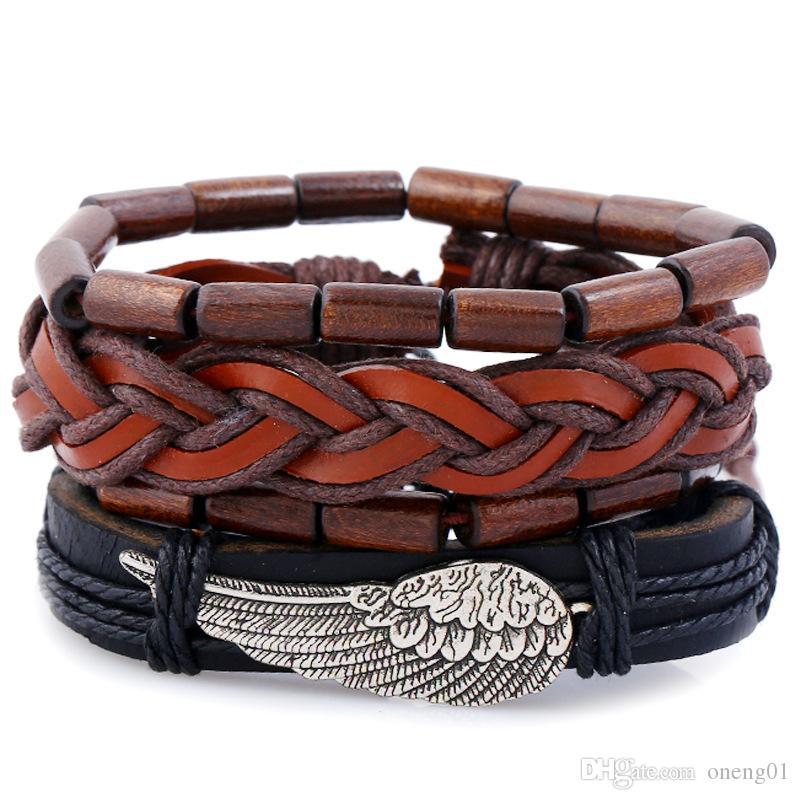 4 pçs / set retro pulseiras de couro genuíno para as mulheres artesanais DIY Asa de anjo multicamadas pulseiras de tecido conjunto charme casal jóias