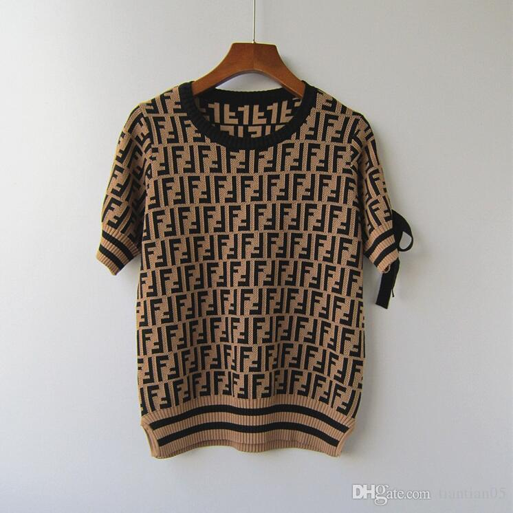High-end customized 2018 new double F letters knitted sweater short sleeve double-sided split slim figure sweater strap jacket