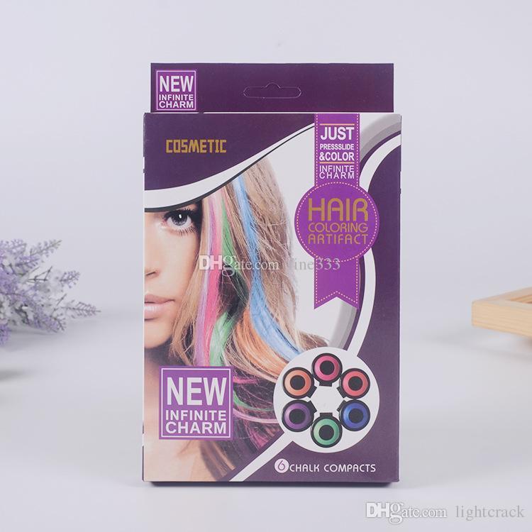 Hot Huez 6 PACK New Infinite cosmtic Charm Hot Huez Bunte Haarcreme Com Nur Pressslide Farbe Haarfärbung Artifact 6 Chalk Compacts