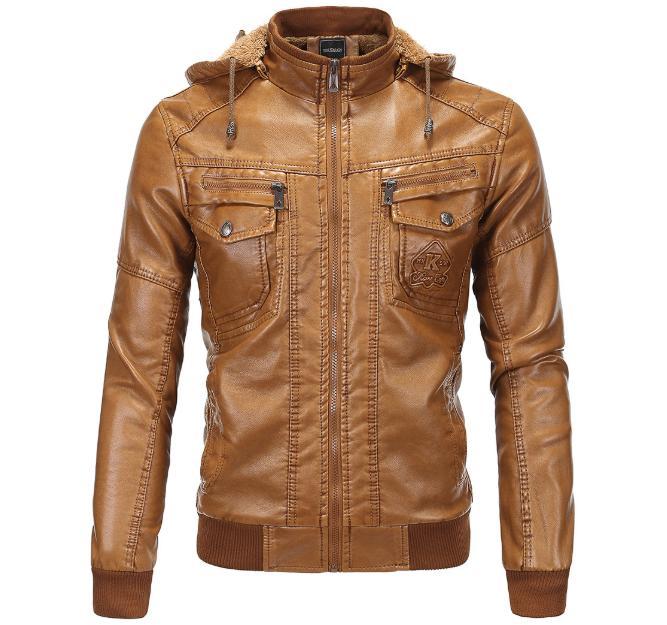 겨울 남성 갈색 가죽 폭격 재킷 따뜻한 가짜 양 기관자전차 재킷 남자 퀼팅 가죽 코트 fz0501