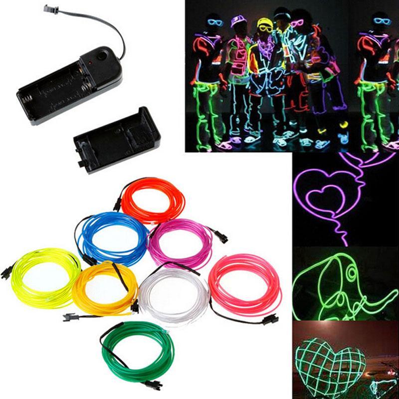 Intermitente EL Wire Lámpara de iluminación de neón 1M 2M 3M 5M Batería flexible Energía Led Luz de la cinta Accesorios de la etapa de luz fría Luz de tira 10 colores
