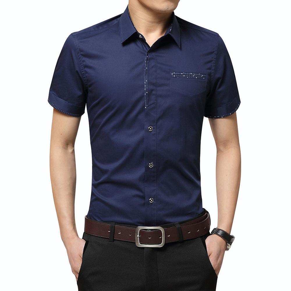 Summer Men's Shirt Brand Luxury Men Cotton Short Sleeves Dress Shirt Turn-down Collar Cardigan Shirt Men Clothes C19041702