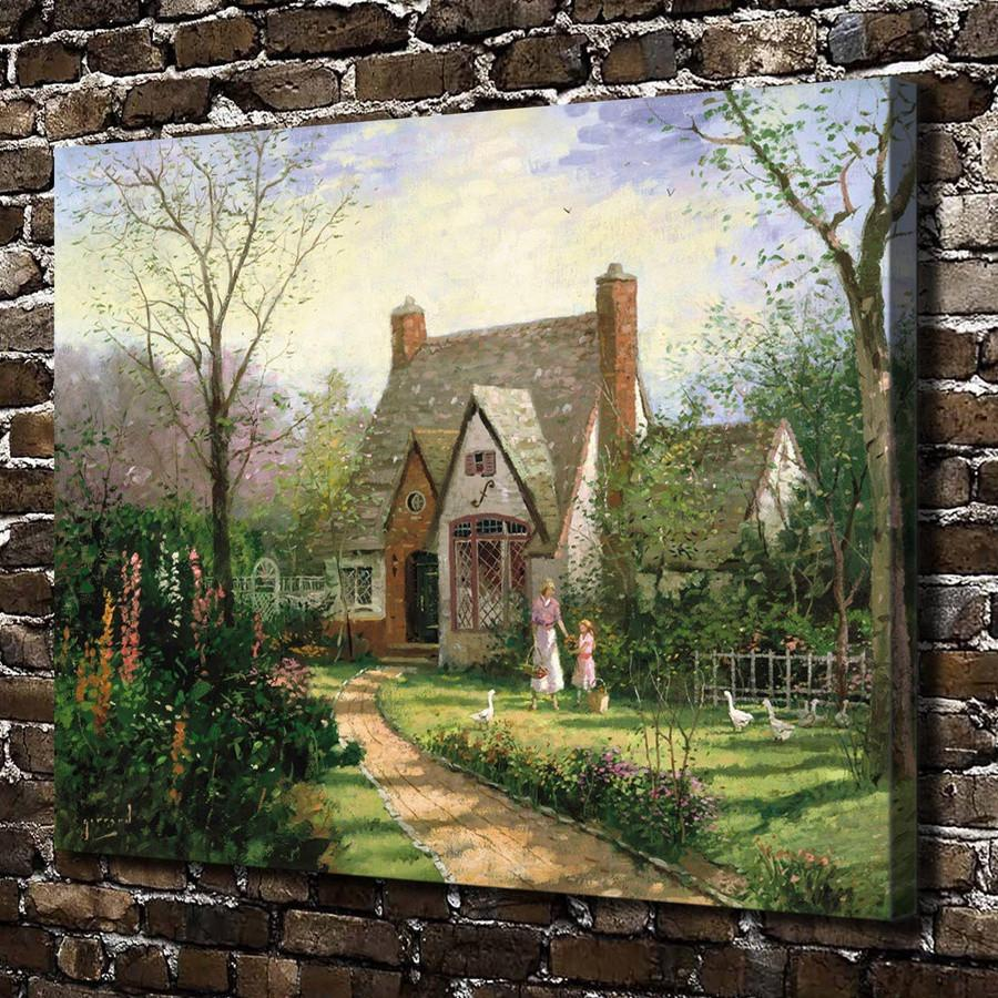 Thomas Kinkade,The Cottage,1 Pieces Canvas Prints Wall Art Oil Painting Home Decor (Unframed/Framed) 24x32