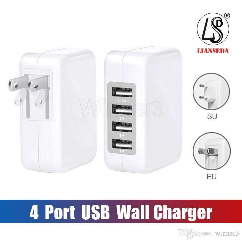 접는 플러그 삼성과 패키지 3.1A 15W 고속 4 포트 USB 벽 충전기 휴대용 여행 충전기 전원 어댑터와
