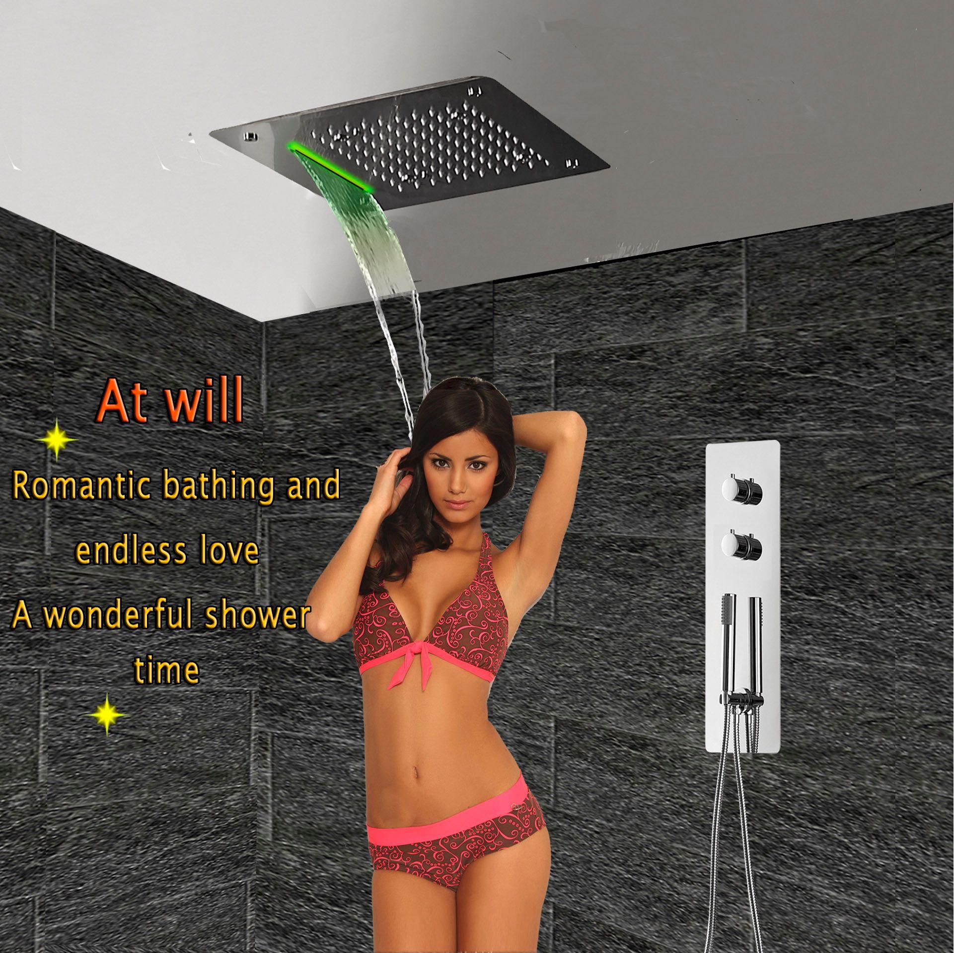 Verdeckte Thermostat Badezimmer Duschpaneel Armaturen Ventil der Wand befestigter Regen Regen Wasserfall Deckenduschkopf LED-Bad-Armaturen-System