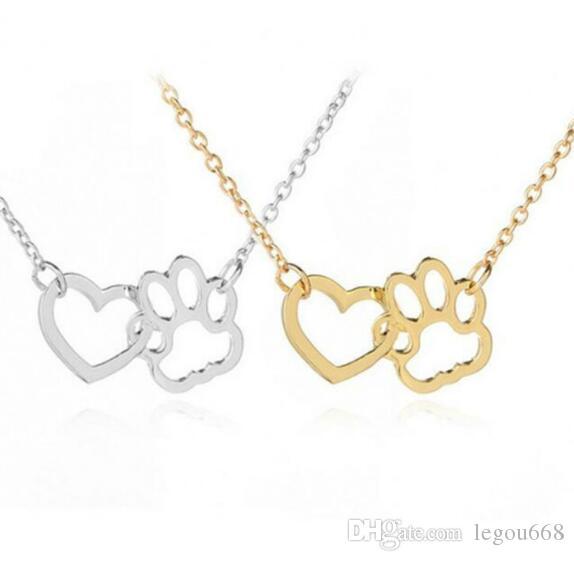 Nuevo collar sencillo perro de Europa y América pata del animal doméstico garra colgante del corazón del melocotón de cuello hueca wl1079 collar de cadena