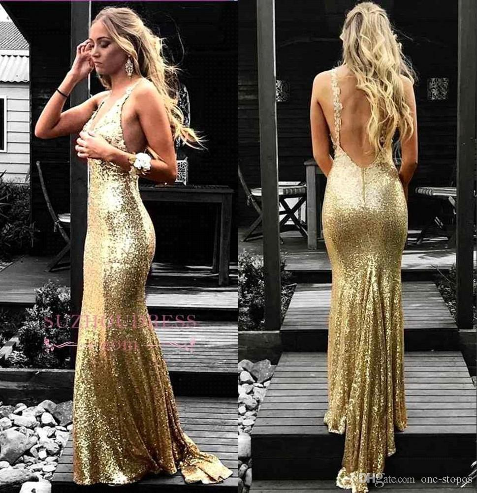 2019 New Gold Sequins Mermaid Prom Evening Dress Long Formal Sparkly Backless Party Gown Sexy Pageant Dresses BC1590