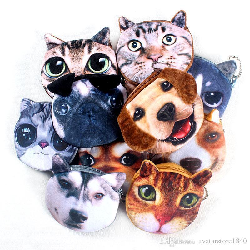Sıcak S Yeni 3D baskı Kedi / Köpek Yüz Fermuar Vaka Çocuk Sikke çanta Lady Sevimli Cüzdan Kılıfı Kadınlar Kız Makyaj Buggy Çant ...