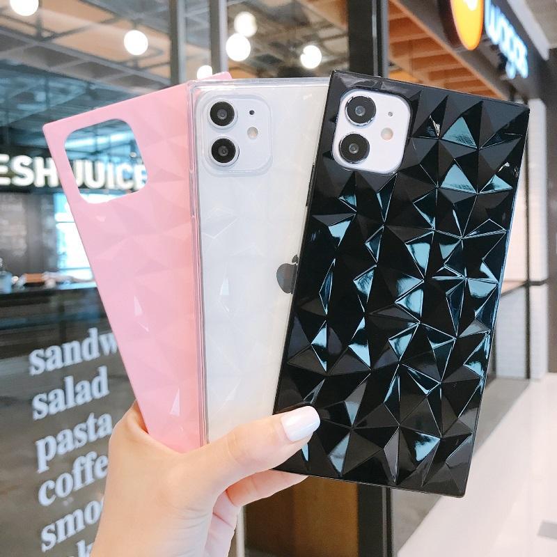 3D ромба цвета конфеты iPhone аргументы за Iphone 11 Pro Max X XR XS Max SE2 8 7 6 6S Plus Square Soft ТПУ