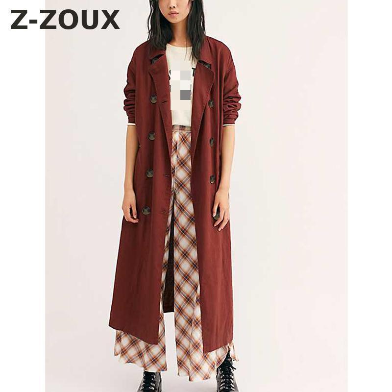 Women's Trench Coats Z-ZOUX Women Coat Long SLeeve Double Breasted Windbreaker Solid Temperament Thin Loose Overcoat