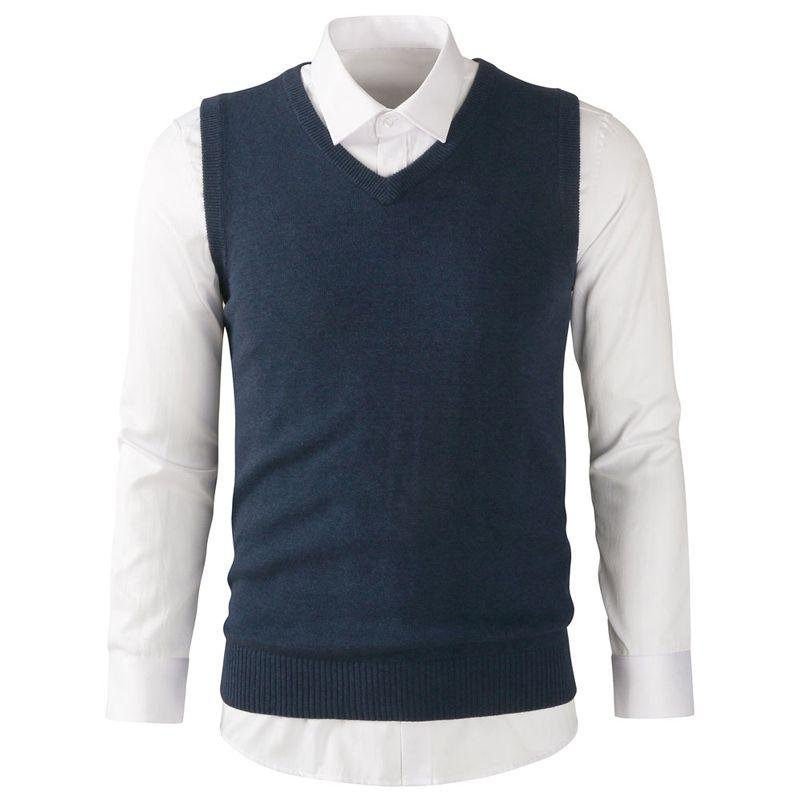 Alta qualidade 2018 Moda Novo estilo dos homens sem mangas com decote em v camisola colete de algodão mens casual malha colete de roupas finas topos