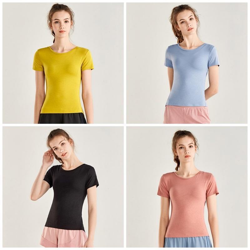 LU Slim Courir Chemises col rond manches rapide court sec Yoga Fitness Pull Top Cross de Split Gym shirt pour femmes de vêtements E19