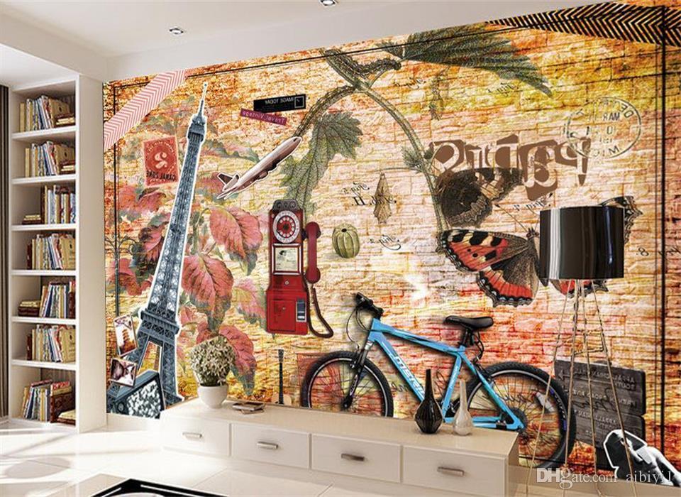 нестандартного размер 3d фото обоев гостиной спальня настенной велосипед ностальгии исследования картина диван телевизор фон обои нетканая наклейка