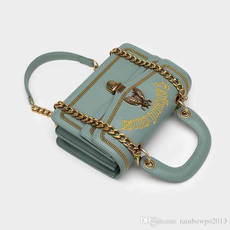 Fabrikgroßhandelsfrauenhandtasche neue Lederhandtasche süße Karikaturstickerei Frauen Kettenbeutel-Straßenart und weise Stickerei Umhängetasche