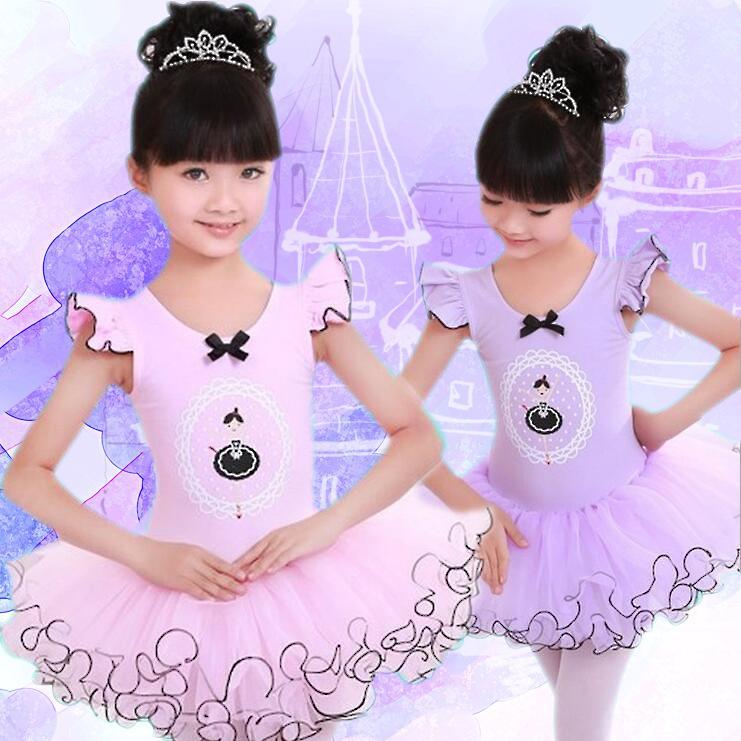 핑크 / 퍼플 코튼 발레 댄스 드레스 어린이 투투 스커트 발레 레오타드 발레리나 드레스 소녀 키즈 의상 의류