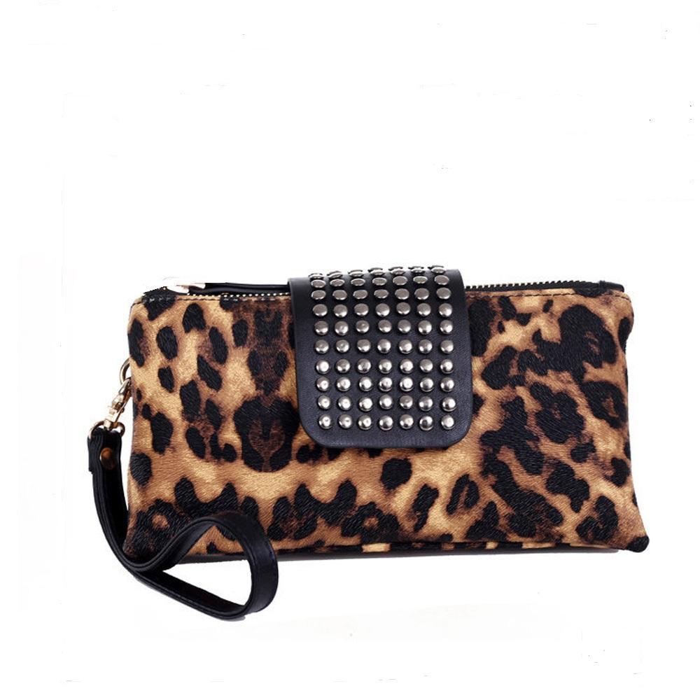 Faux Leather Leopard Wristlet Clutch Bag DOMIL Wholesale Blanks Double Zipper Rivet Cheetah Handbag Bridemaid Gift Evening Bag DOM1061041