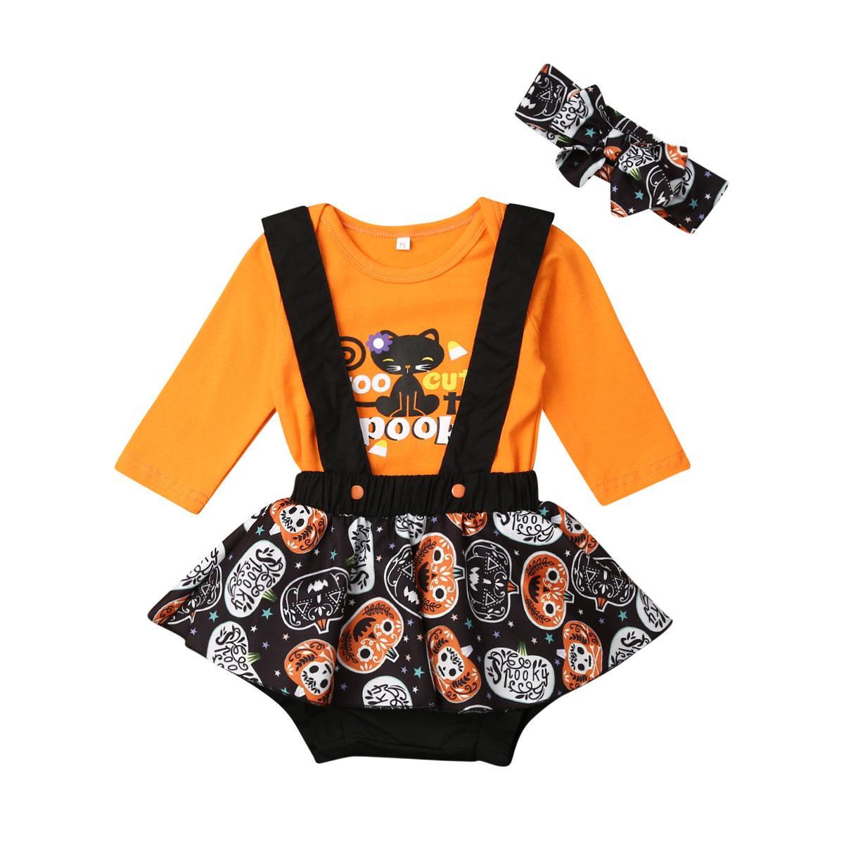 0-2T 브랜드 뉴 아이 신생아 유아 아기 호박 점프 수트는 머리띠 3PCS 할로윈 의상 세트 + + 턱받이 바지 탑