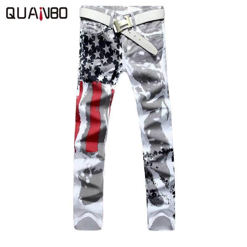 Büyük beden 28-42 Marka Erkek pantolonları 2019 Yeni Beyaz Baskılı Moda Erkek Jeans Elastik Baskı Amerikan Bayrağı Jeans Hombre CX200701