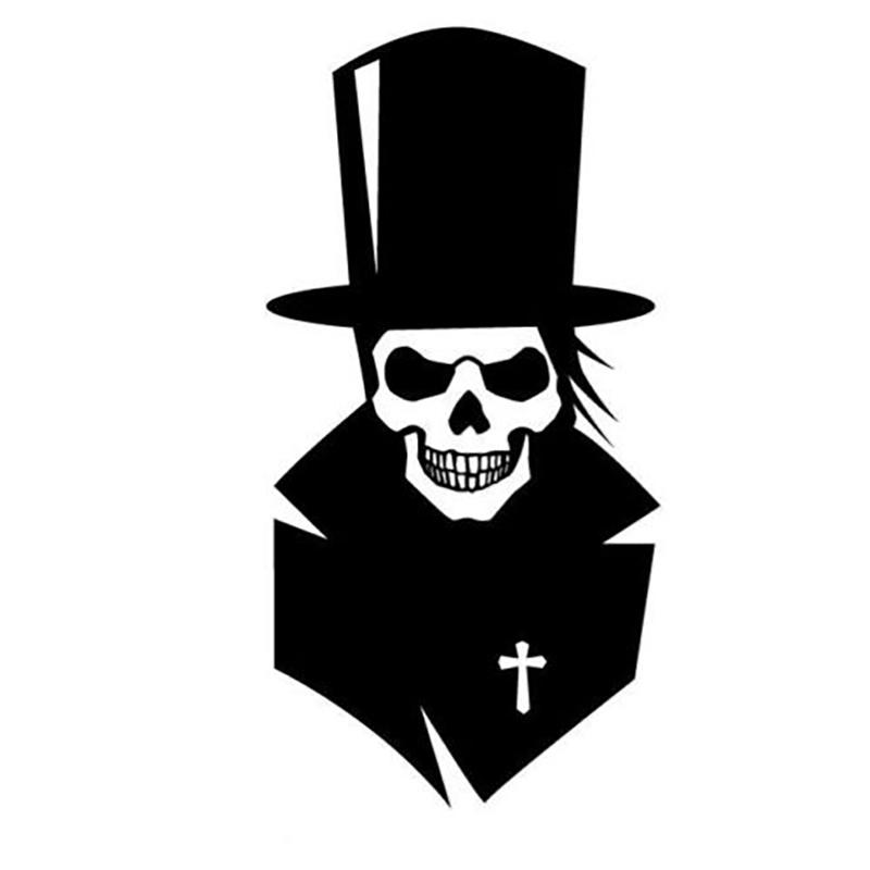 15*7.6CM Handsome Dress Top Hat Skull Car Decal Sticker Car Accessories Vinyl Car Wrap Decor Decals