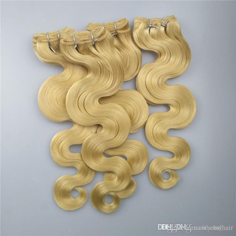 613 # Русский блондинку с Virgin Hair 3 Связки Топ человеческих волос Free расчесывания Линять