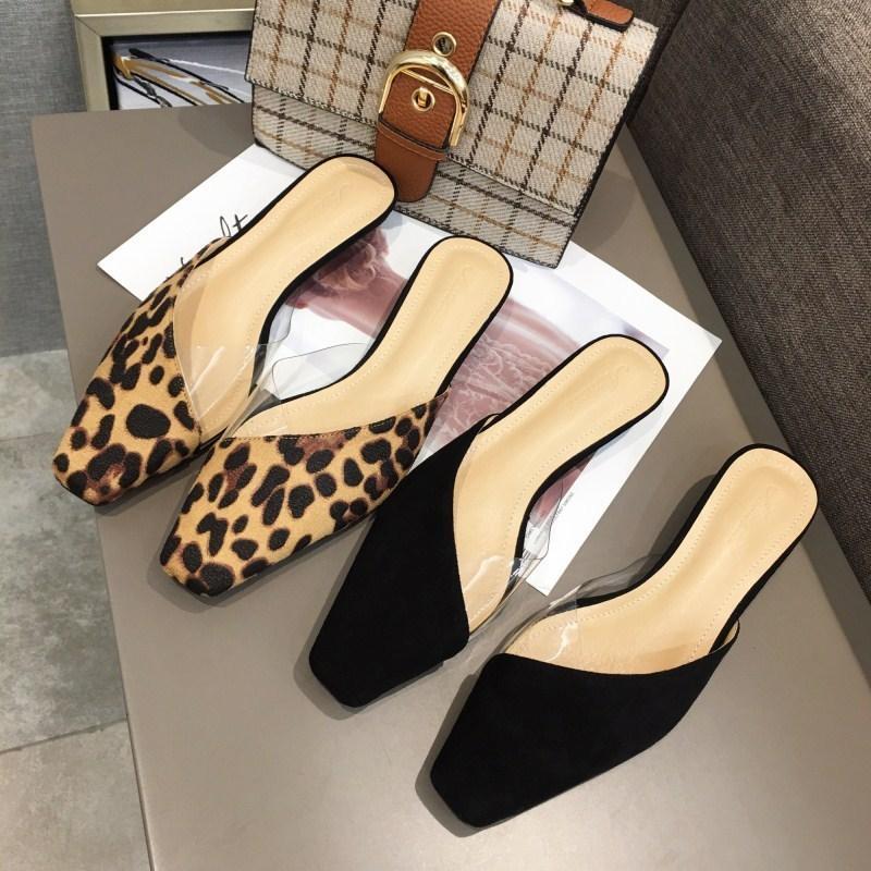 Hot2019 Kare Fonu Aşağı Makarna Leopard Baskı Şeffaf Yazım Renk Düşük ile Kadın ayakkabı Terlik