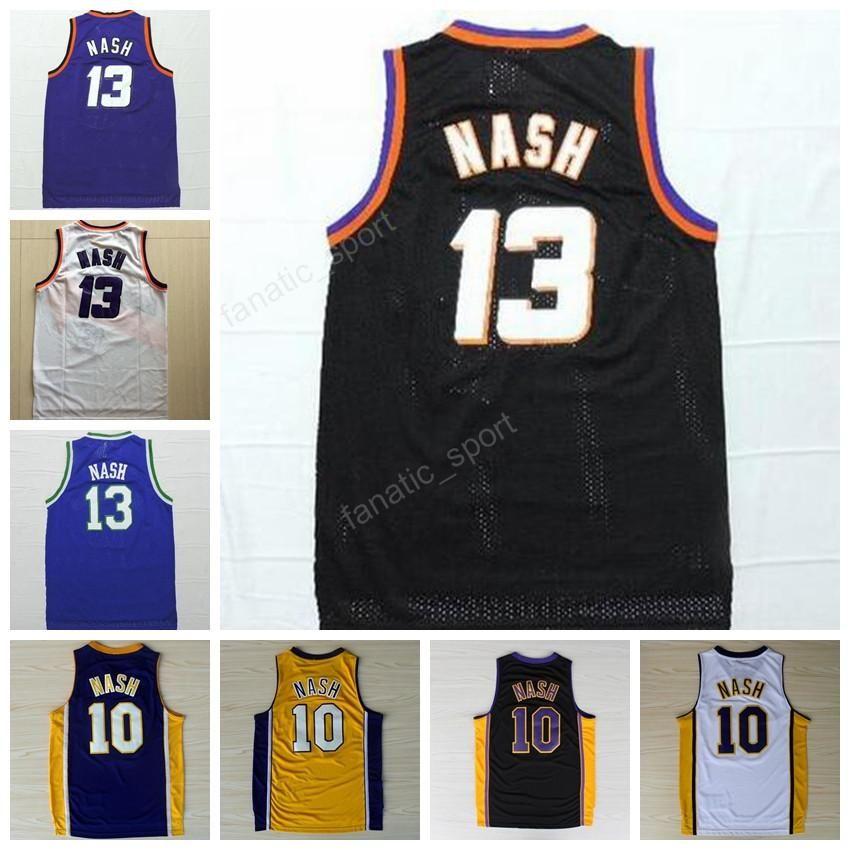 Cheap 13 Steve Nash Basketball Jerseys Throwback Homens 10 Steve Nash Jersey Esporte Vintage Cor Bordado Amarelo Preto branco roxo azul