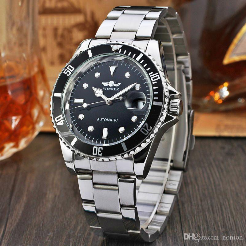 VENCEDOR Relógios Bezel Dial Relógio Mecânico masculino Automatic Aço Inoxidável pulseira de couro Homens Relógio de pulso Relógio Relógio Masculino