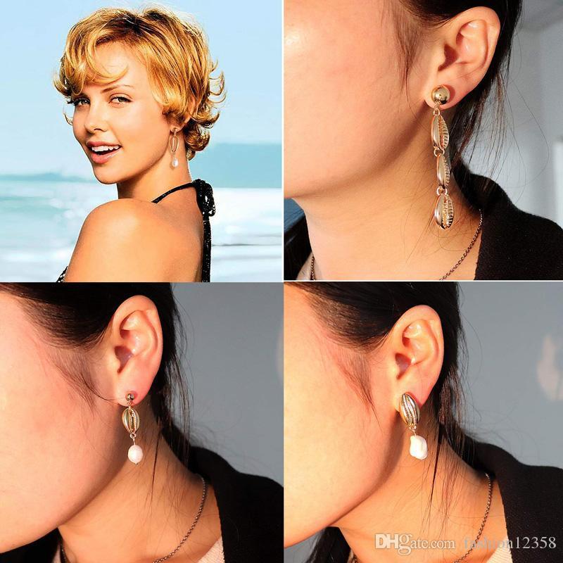 LSOOYH Bohemian Fashion Round Shell Pearl Long Dorp Earrings For Women Girl