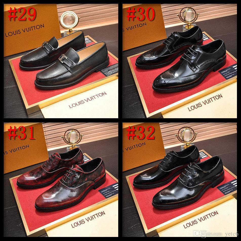 Saf Renk Tasarımcılar Mavi Siyah Fomal footwea üzerinde 19SS Erkek İş Ayakkabı üst Deri Lüks Elbise Ayakkabı Erkek Moda Sivri Burun Kayma