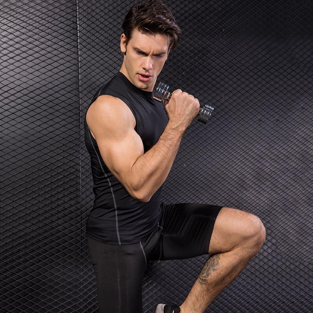 Homens Compression Regatas Workout mangas respirável Undershirt Fitness Gym Vest Mens Singlet Correndo hipismo Shirts Elastic calças justas