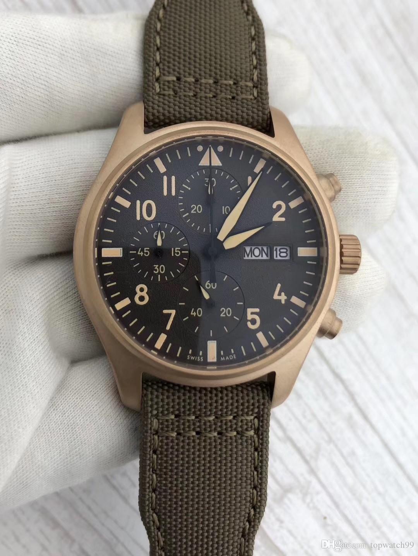 mouvement de haute qualité nouvelle montre luxe 42mm cadran nylon ou bracelet en cuir 8 couleurs mode mens pilotes jour la date montre quartz montres