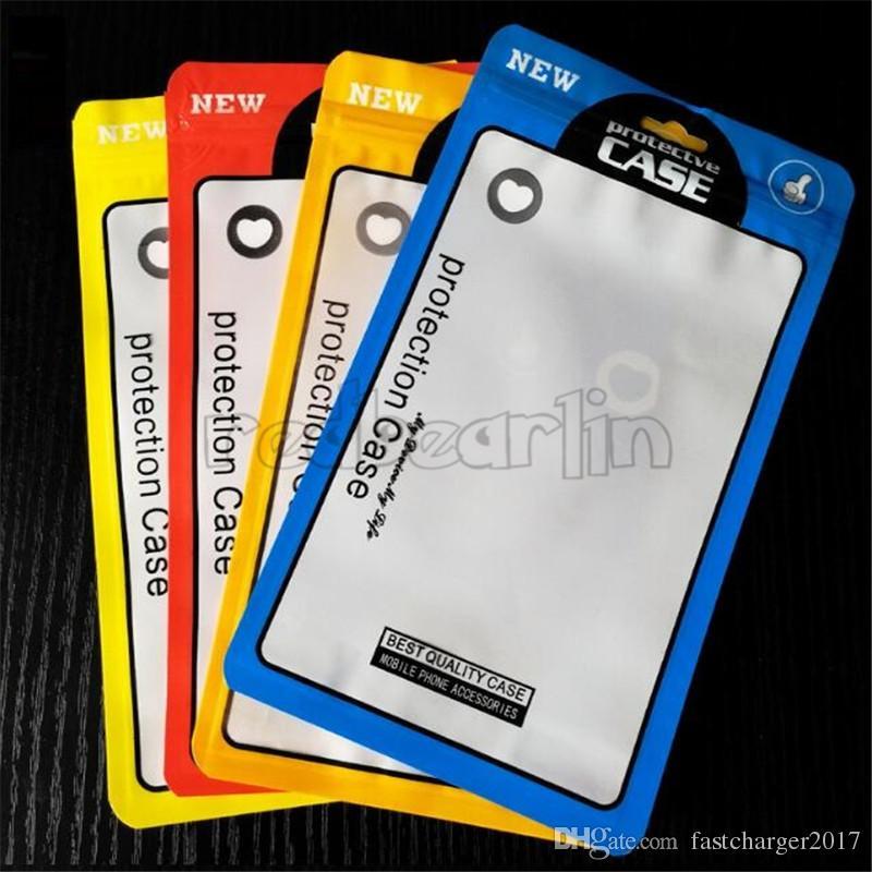 12 * 21cm opp PVC Poly Bags Borse Zipper Imballaggio in plastica Pacchetto Pacchetto Pacchetto Borsa per iPhone 7 8 Plus Caso da 5,5 pollici