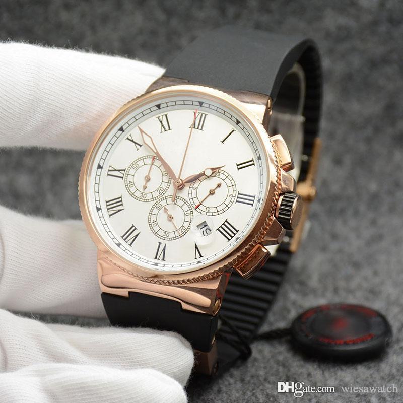 Hommes Montres-bracelets de l'amour à première vue et élégant en céramique Bezel cas Chronometer Quartz Batterie Or Cadran Blanc Outdoor Montres Hommes