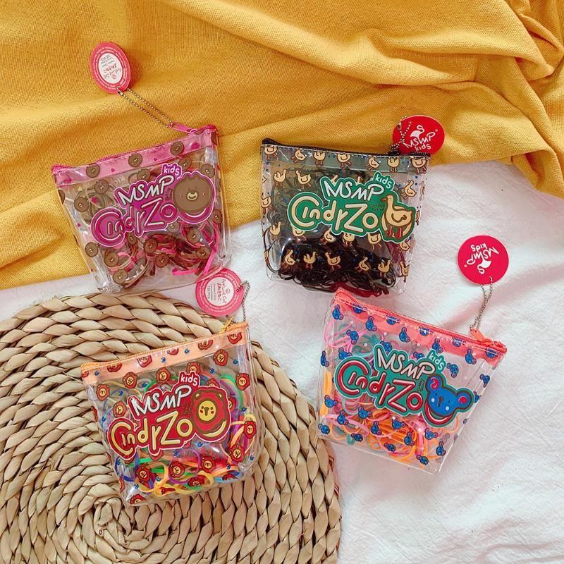 Chica de dibujos animados de plástico portátil Color caramelo banda de goma elástico Hairties pelo Accessoriers para las mujeres