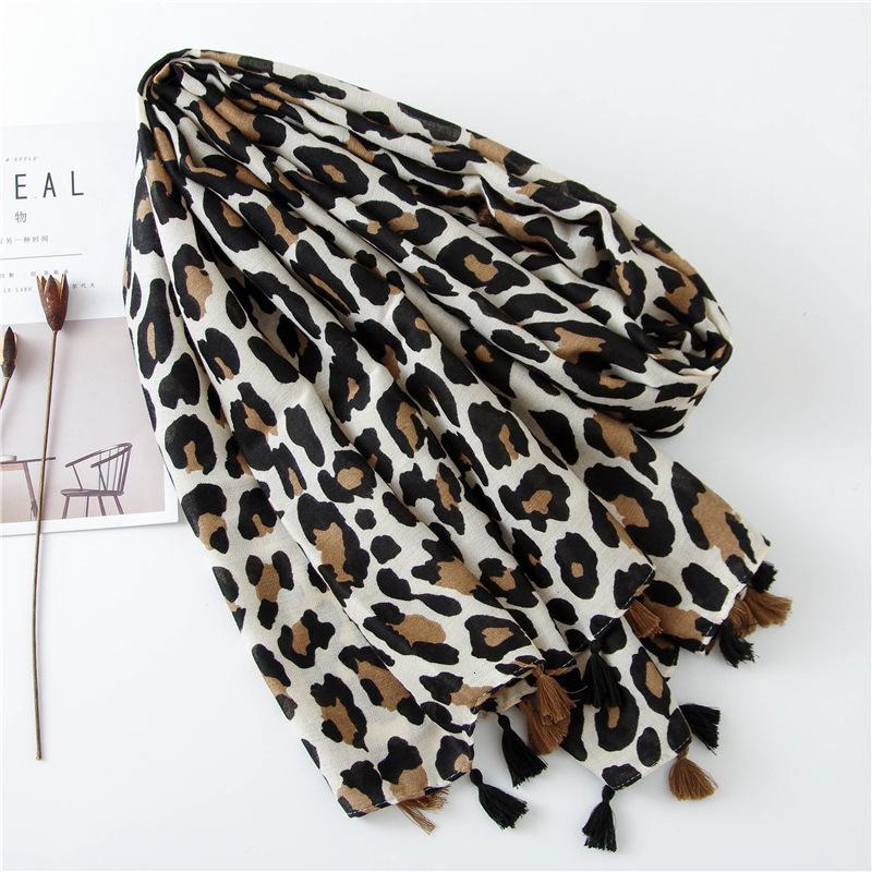 Classic Leopard Print Scarf Season Long A All-match Ma'am Cotton Silk Scarf Dual Purpose ShawlFashion New