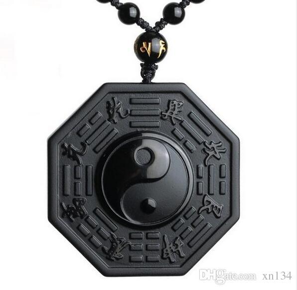 Black Obsidian Yin Yang Necklace Pendant Chinese BAGUA Men's Jewelry Women's Jewelry