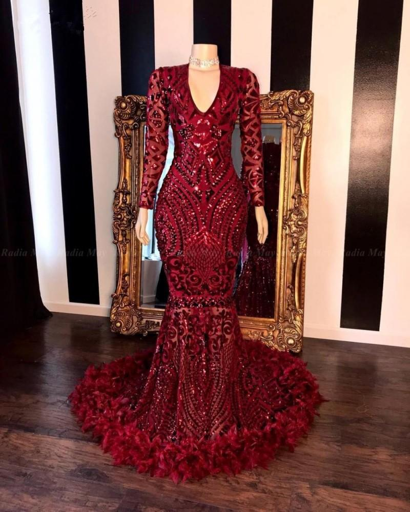 2020 Burgundy Lace Feather Mermaid Prom Dresses Black Girls V Neck Long Sleeves Sweep Train Formal Evening Party Gowns