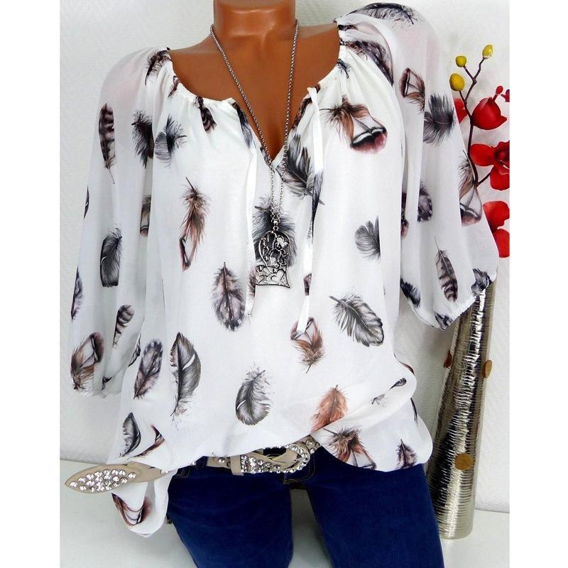 5 colori autunno piuma stampa mezza manica donna t-shirt s-5xl big size moda chiffon top tees femminile allentato casuale t-shirt Y19051301
