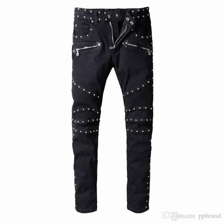 2019 M1061 Марка узкие эластичные джинсы Slim Denim Straight Biker Роскошные мужские мотоциклетные джинсы Дизайнер US29-42 Топ мужские джинсы