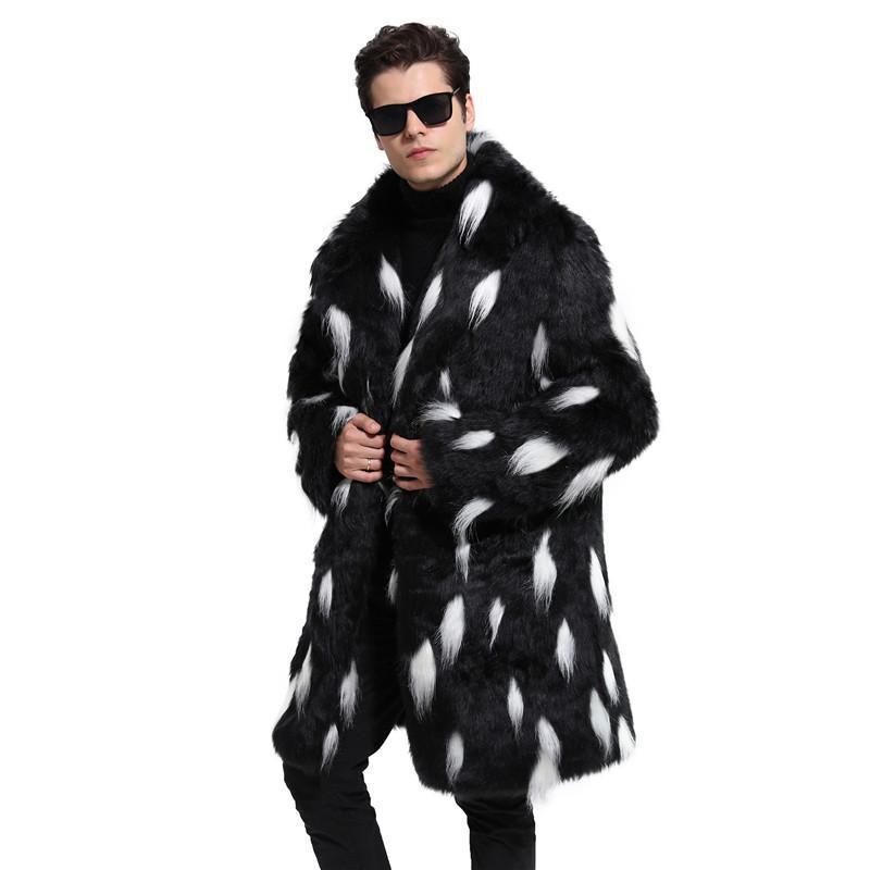 بالاضافة الى حجم عارضة معاطف الشتاء الدافئة ترف الرجال سترة سترة الرجال البقع مصمم فو الفراء الأزياء
