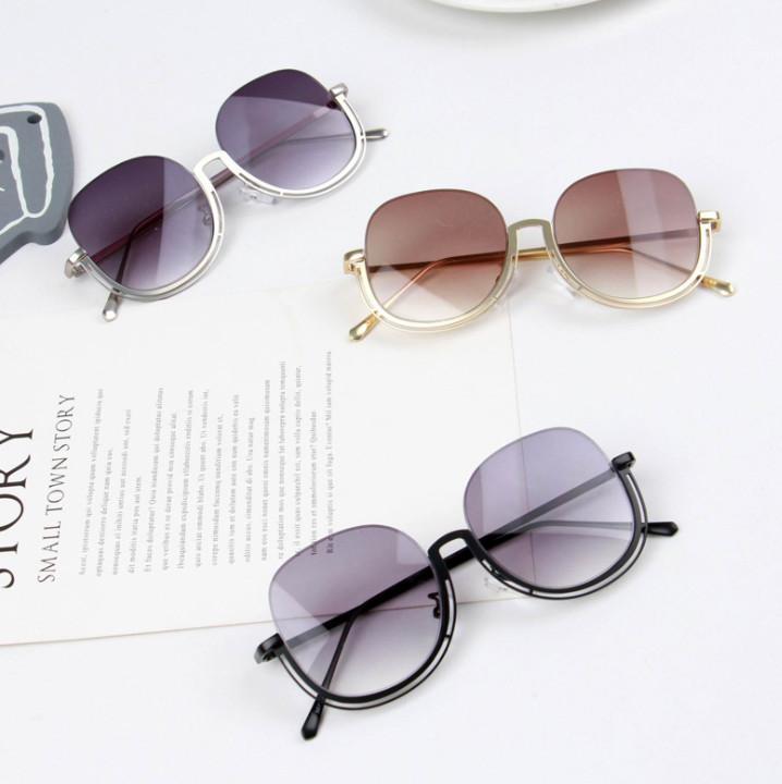 New Kids sunglasses Fashion girls metal half frame sunglasses children Uv protection goggles kids beach sunblock A1731