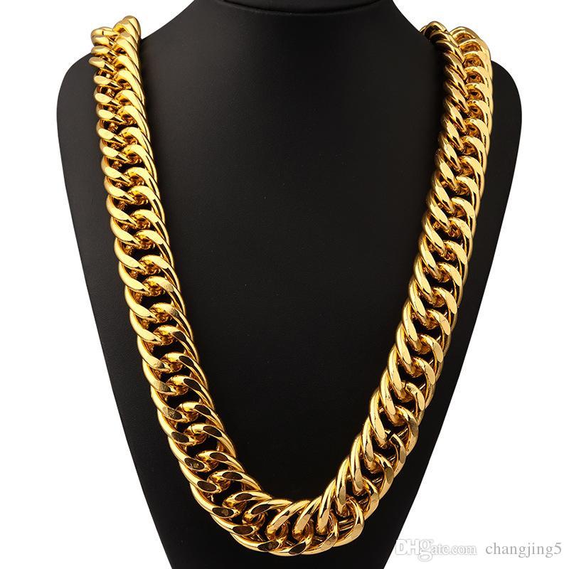 Collar pesado! Torcer la joyería de la calle chapado en oro collar bailarín cantante de aluminio Hip Hop de los hombres de cadena