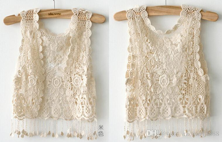Black Friday Deals 2017 Fashion Spring Knitting Short sleeve Girl Crochet Tassel Shrug Top Gilet Waistcoat Cardigan Beige UK